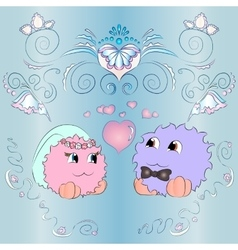 Bride and groom wedding card ornaments blue vector