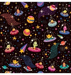 Cute aliens pattern vector