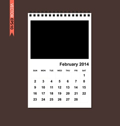February 2014 calendar vector image vector image