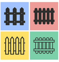 Fence icon set vector