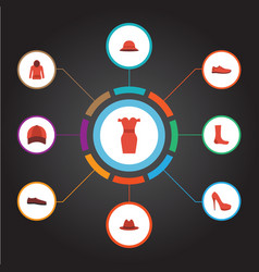 Flat icons fedora hat heeled shoe and other vector