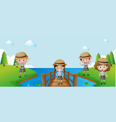Four kids having fun outdoor vector