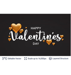 Happy valentines day text and 3d hearts on black vector