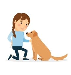 Happy woman with dog vector image vector image