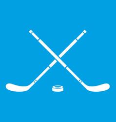 Hockey icon white vector