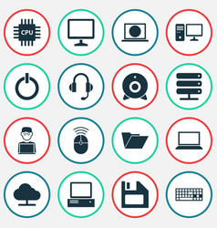 Laptop icons set collection of power on web vector