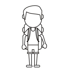 Man wearing short with backpack travel thin line vector