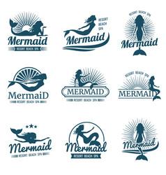 mermaid silhouette stylized logos vector image