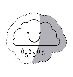 monochrome contour sticker of smiling cloud with vector image vector image