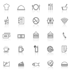 Restaurant line icons with reflect on white vector image vector image