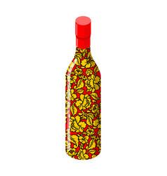 Russian vodka bottle khokhloma painting national vector