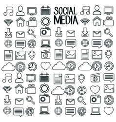 set social media design isolated vector image vector image