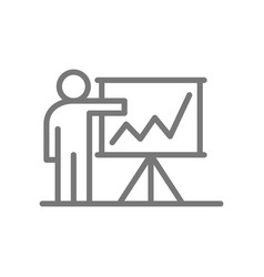 simple teacher or man with presentation line icon vector image