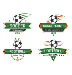 Sport logotype football academy indoor cup soccer vector