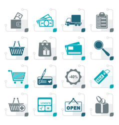 stylized shopping and website icons vector image vector image