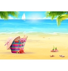 Summer with a beach bag in the sand vector image