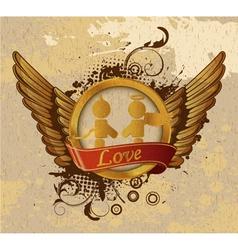 vintage gold valentines emblem vector image