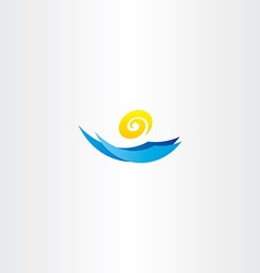 Water wave sun tourism logo sign vector