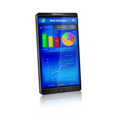 Web analytics application on smartphone screen vector