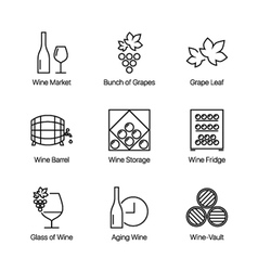 wine icons white vector image vector image