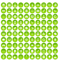 100 statistic data icons set green circle vector