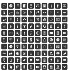 100 touch screen icons set black vector