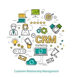 Line Art Concept of CRM vector image