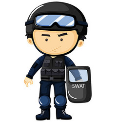 SWAT in protection uniform vector image