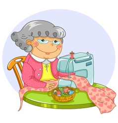 granny sewing vector image