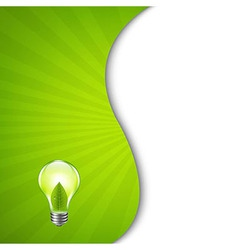 Green Burst Poster With Bulb vector image