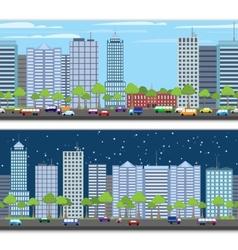 Cityscape tileable border vector