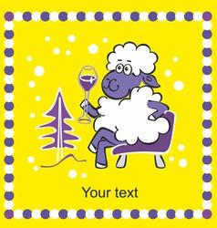 2015 christmas card - sheep celebrates new year vector