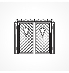 Line icon for iron gates vector