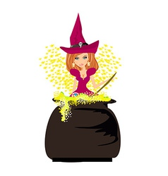 Halloween witch preparing potion vector