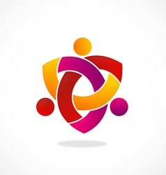 Circle people teamwork group logo vector
