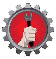 Metal badge with hand with spanner vector