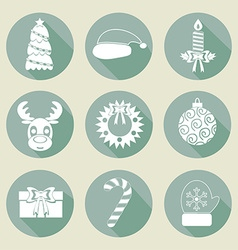A set of christmas icons retro colors flat design vector