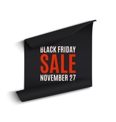 Black rfriday curved paper banner vector