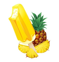 Pineapple popsicle ice-cream summer flavor vector