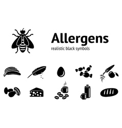 Allergen set insect cheese down sweets milk vector