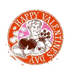 Happy valentines day stamp vector