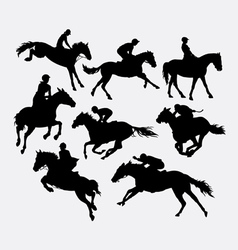 Jockey riding horse silhouette vector