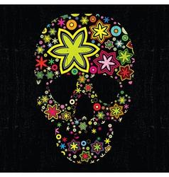 skull in flowers vector image