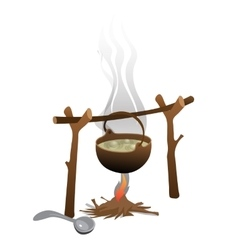 Tourist camping bonfire and brewed pot of food vector