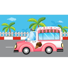A pink ice cream bus vector image vector image