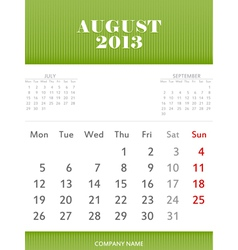 August 2013 calendar design vector image vector image