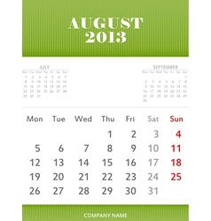 August 2013 calendar design vector