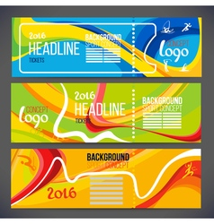 Banners wave bands with different colors are vector