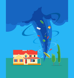 Cartoon tornado or hurricane destroy house vector