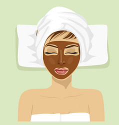 Chocolate facial mask chocolate therapy vector